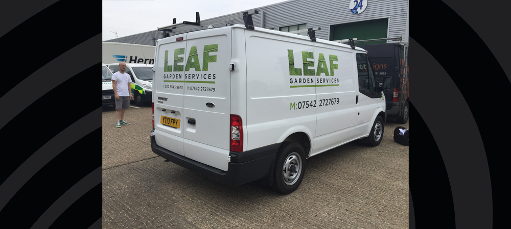 vehicle livery for leaf garden services