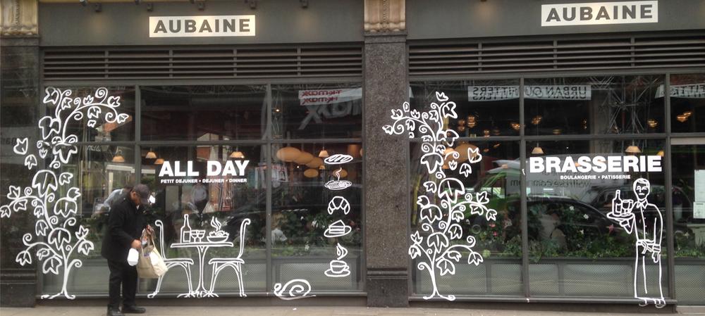 aubaine brasserie window display