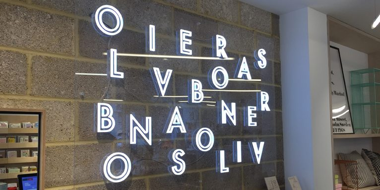 oliver bonas internal illuminated signage